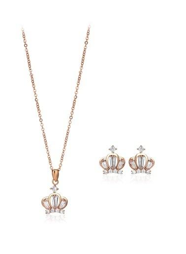 Tophills Diamond Co. 1,50 Ct Pırlanta Efekt Altın Chic Crown Roz Set Renkli